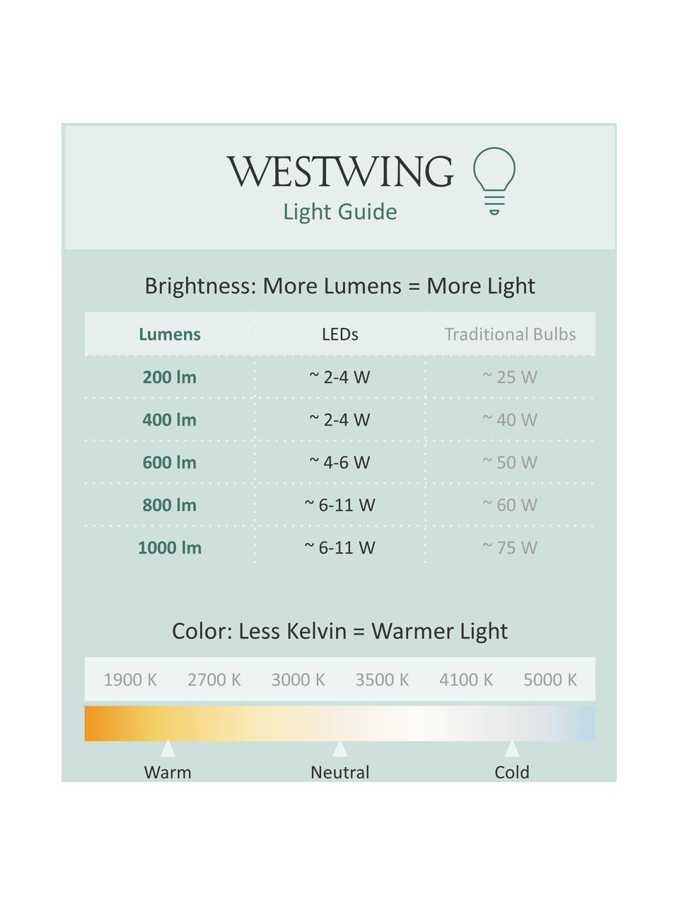 Lampadina E27, 806lm, dimmerabile, bianco caldo 3 pz, Paralume: materiale sintetico, Base lampadina: alluminio, Bianco, Ø 6 x Alt. 10 cm