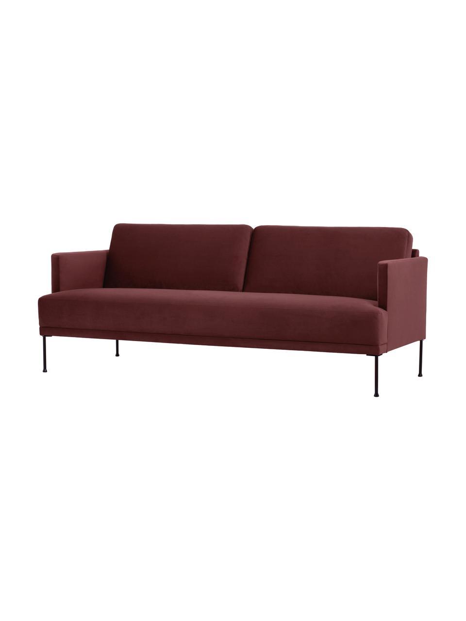 Sofa z aksamitu  z metalowymi nogami Fluente (3-osobowa), Tapicerka: aksamit (wysokiej jakości, Nogi: metal malowany proszkowo, Rdzawoczerwony, S 196 x G 85 cm
