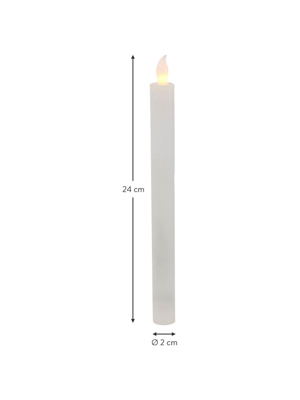 LED Kerzen Vilago, 2 Stück, Wachs, Weiß, Ø 2 x H 24 cm
