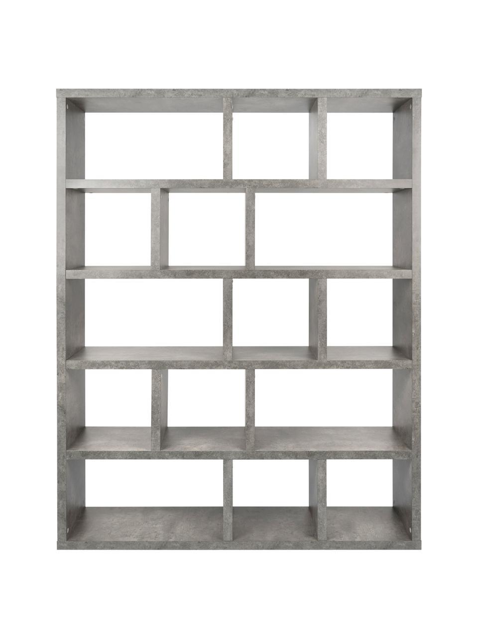Libreria grande effetto cemento Portlyn, Rivestimento: fibra a media densità, Superficie: strato melaminico, Grigio, Larg. 150 x Alt. 198 cm