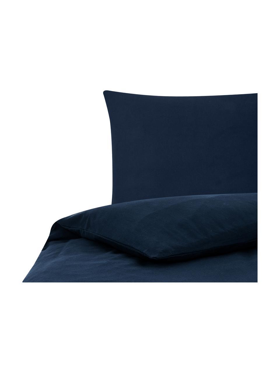Flanell-Bettwäsche Biba in Marineblau, Webart: Flanell Flanell ist ein k, Marineblau, 135 x 200 cm + 1 Kissen 80 x 80 cm