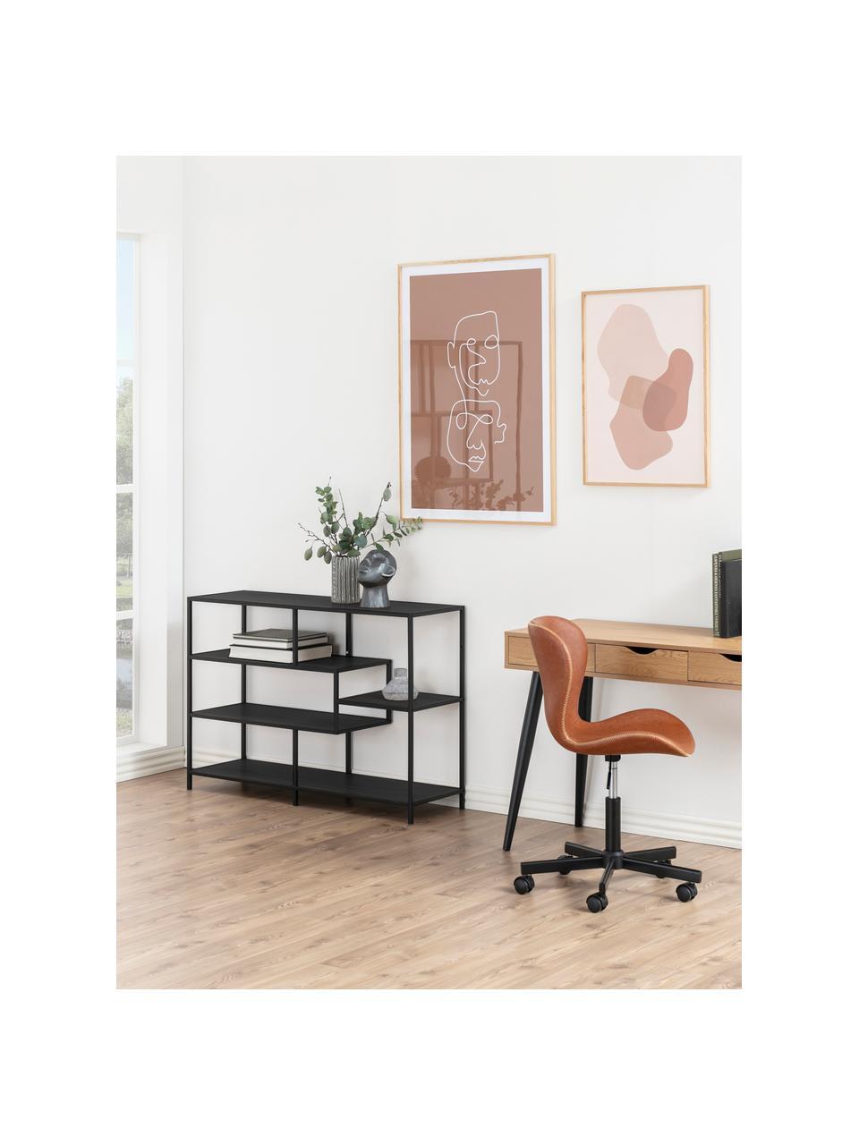 Libreria in legno e metallo Seaford, Ripiani: pannello di fibra a media, Struttura: metallo verniciato a polv, Nero, Larg. 114 x Alt. 78 cm