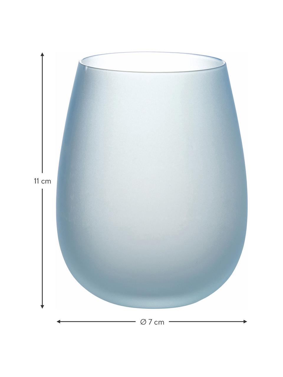 Set 6 bicchieri acqua Happy Hour, Vetro, Tonalità blu, Ø 7 x Alt. 11 cm