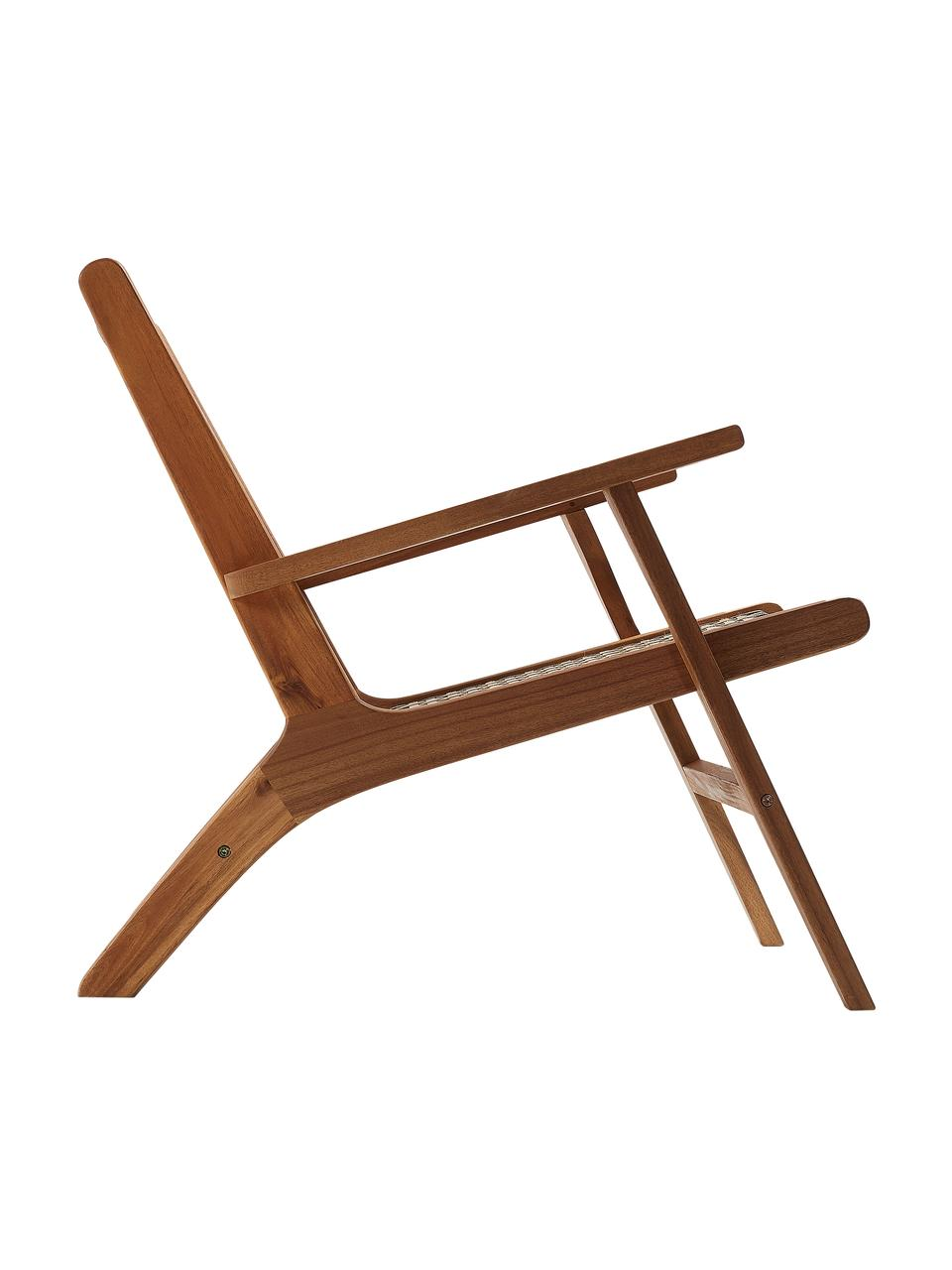Sedia a poltrona intrecciata Noon, Struttura: legno di acacia massiccio, Legno di acacia, Larg. 68 x Prof. 80 cm