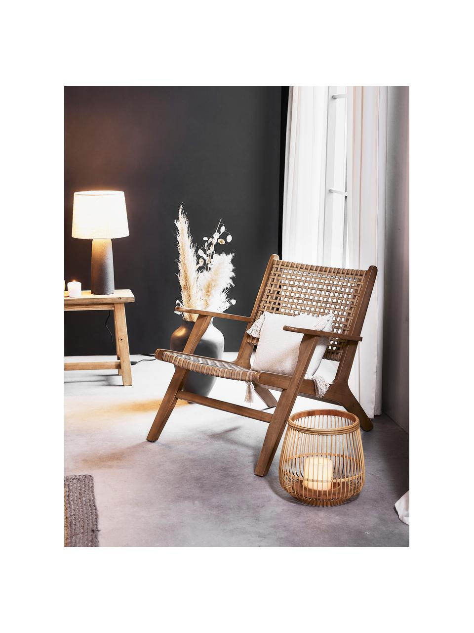 Fauteuil lounge en cannage Grignoon, Bois d'acacia