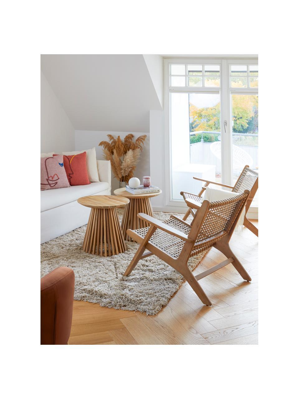Loungefauteuil Noon met rotan vlechtwerk, Frame: massief acaciahout, Acaciahout, B 68 x D 80 cm