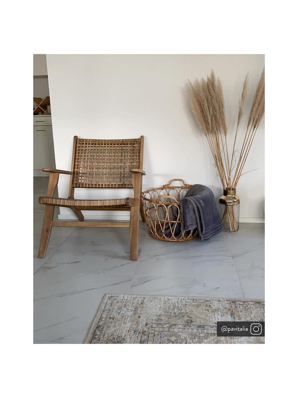 Loungesessel Noon mit Rattangeflecht, Gestell: Massives Akazienholz, Akazienholz, B 68 x T 80 cm