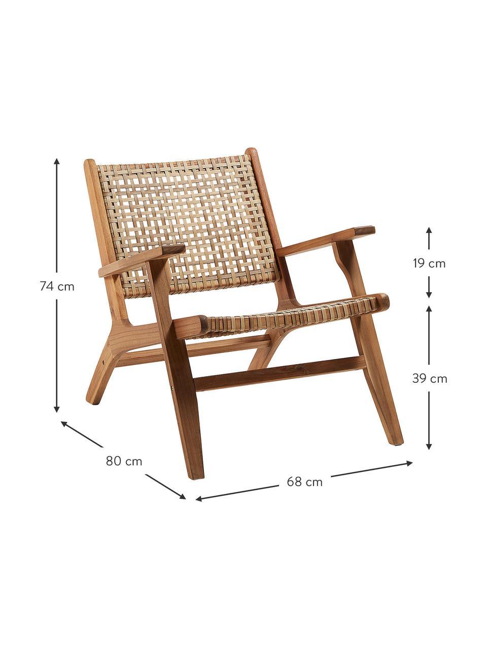 Fotel wypoczynkowy z plecionką z rattanu Noon, Drewno akacjowe, S 68 x G 80 cm