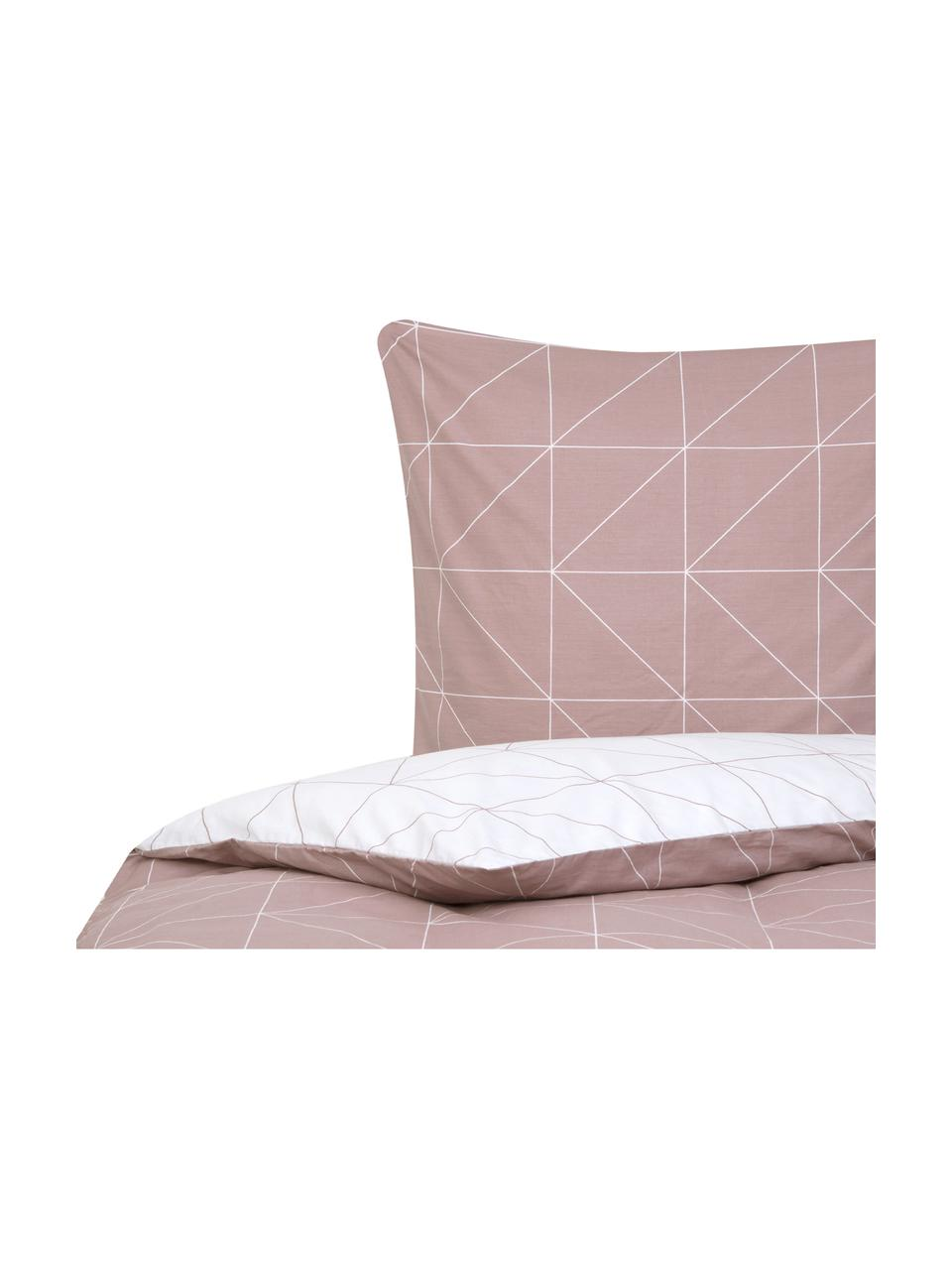 Parure copripiumino reversibile in cotone ranforce Marla, Tessuto: Renforcé, Malva, bianco, 255 x 200 cm