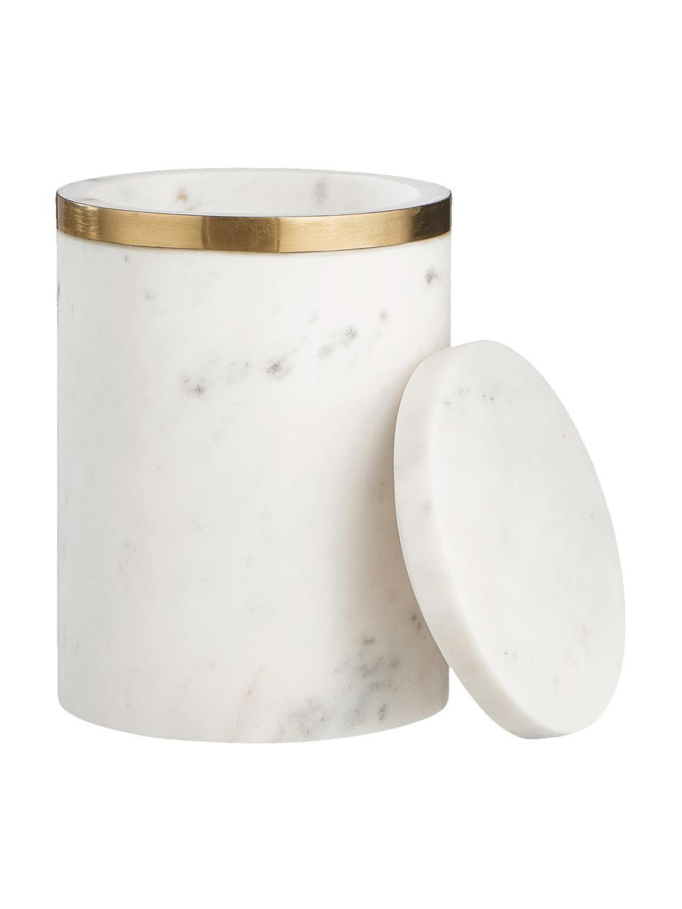 Marmor-Aufbewahrungsdose Maniu, Marmor, Weiß, Ø 12 x H 16 cm