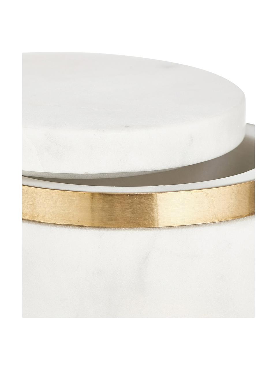 Opbergpot Maniu, Marmer, Wit, Ø 12 x H 16 cm