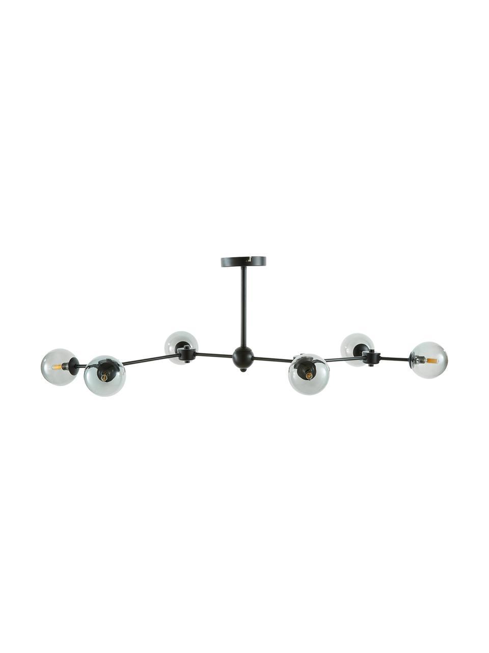 Lampada da soffitto nera Aurelia, Paralume: vetro, Nero, grigio, Larg. 110 x Alt. 32 cm