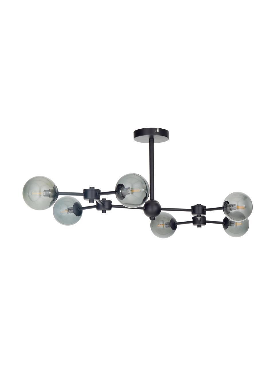 Grote plafondlamp Aurelia in zwart, Baldakijn: gepoedercoat metaal, Zwart, grijs, 110 x 32 cm