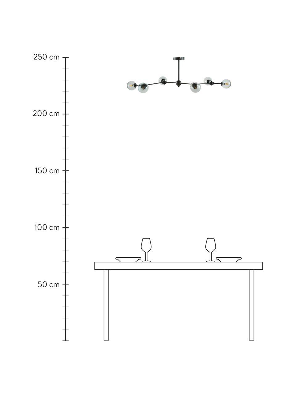 Große Deckenleuchte Aurelia in Schwarz, Baldachin: Metall, pulverbeschichtet, Schwarz, Grau, 110 x 32 cm