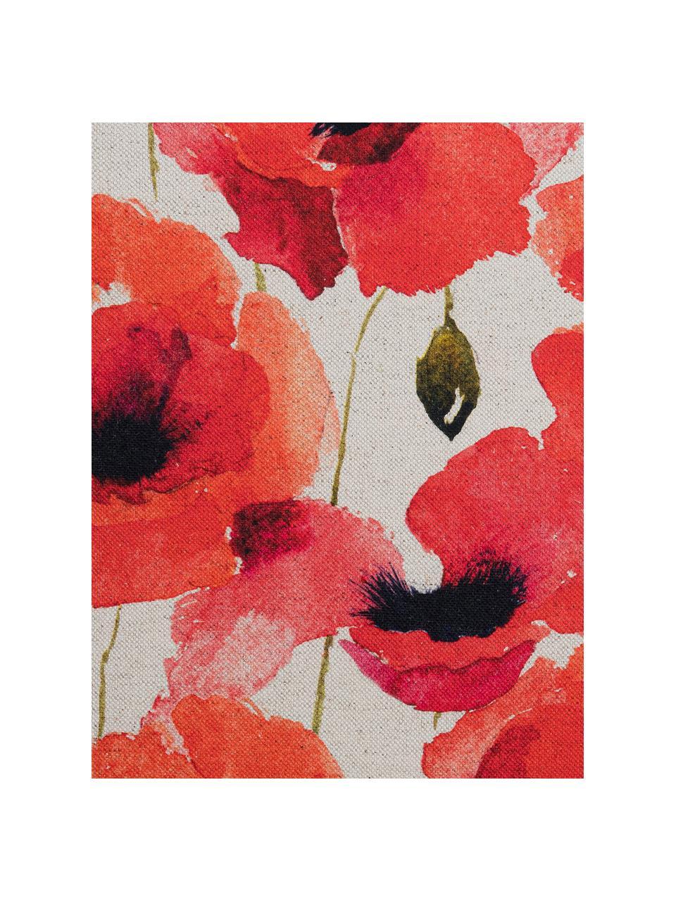 Kissenhülle Poppy mit Mohnmotiv, 85% Baumwolle, 15% Leinen, Rot, Weiß, Schwarz, 40 x 40 cm