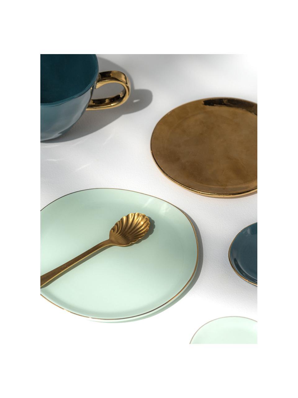 Talerz śniadaniowy Good Morning, Porcelana, Miętowy, odcienie złotego, Ø 17 cm