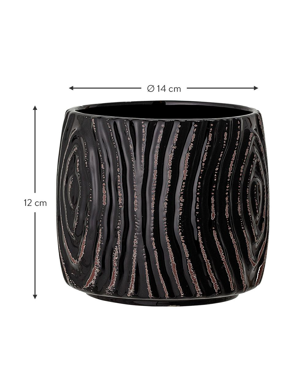 Kleiner Übertopf Hena aus Steingut, Steingut, Schwarz, Braun, Ø 14 x H 12 cm