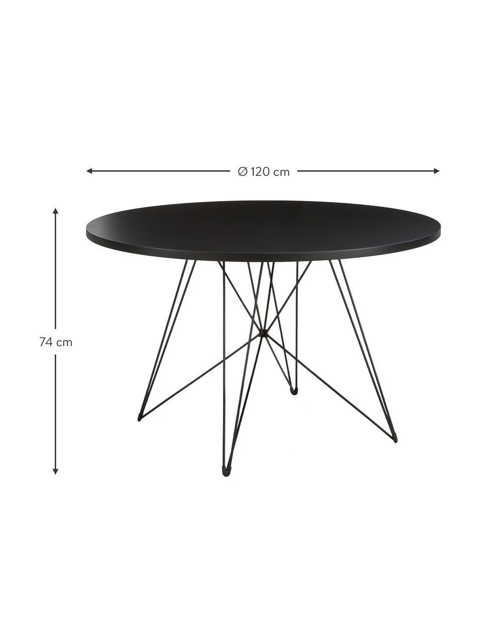 Okrągły stół do jadalni na kozłach XZ3, Blat: płyta pilśniowa o średnie, Nogi: drut stalowy, lakierowany, Czarny, Ø 120 x W 74 cm