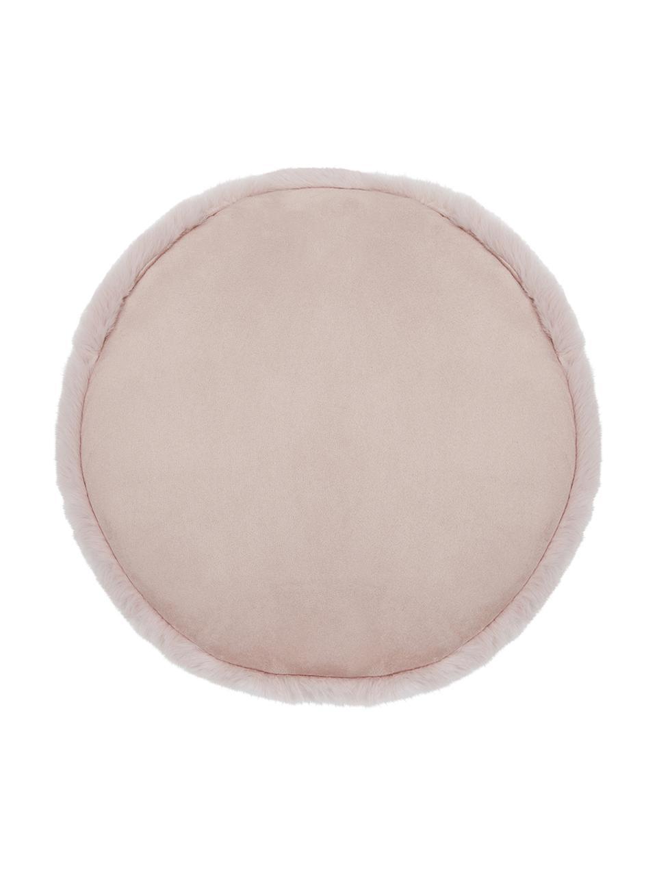 Runde Kunstfell-Sitzauflage Mette, glatt, Vorderseite: 100% Polyester, Rückseite: 100% Polyester, Rosa, Ø 37 cm
