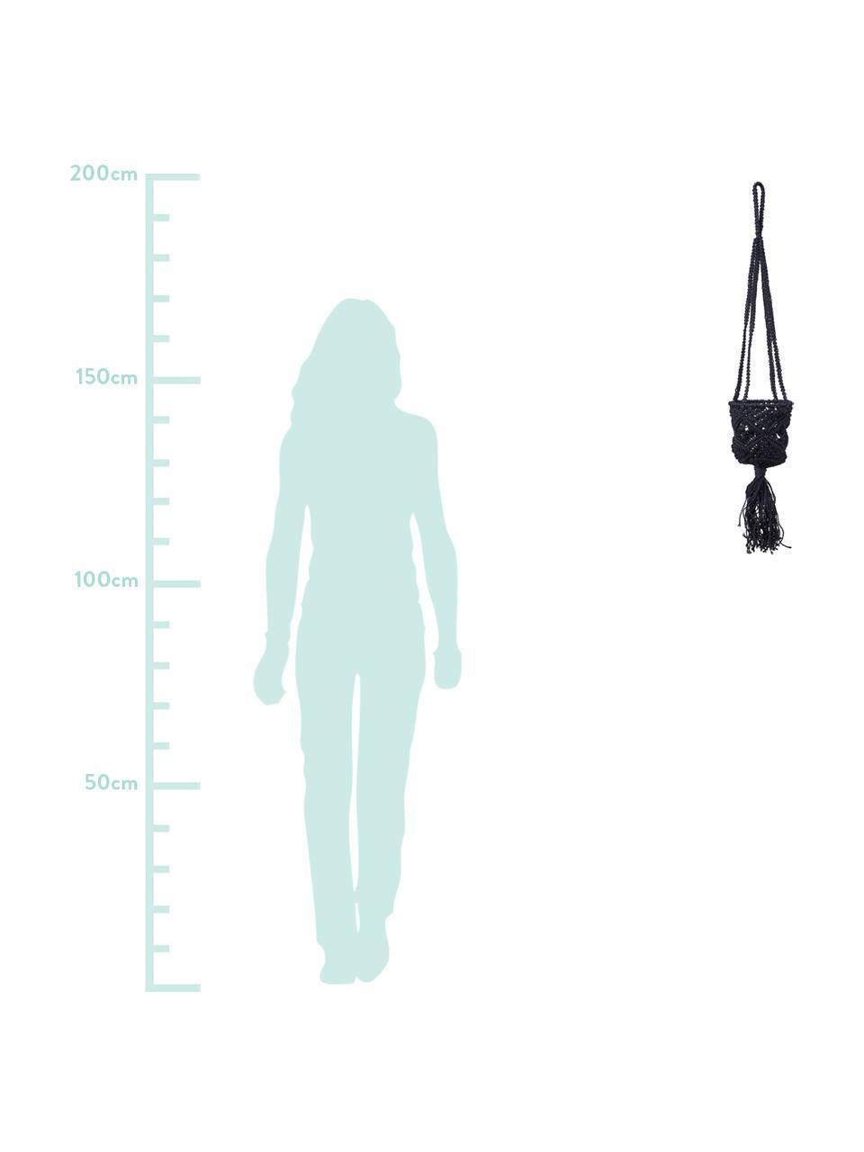 Wiszący kosz ze splotu makramowego Belle, Bawełna, Czarny, Ø 16 x W 100 cm