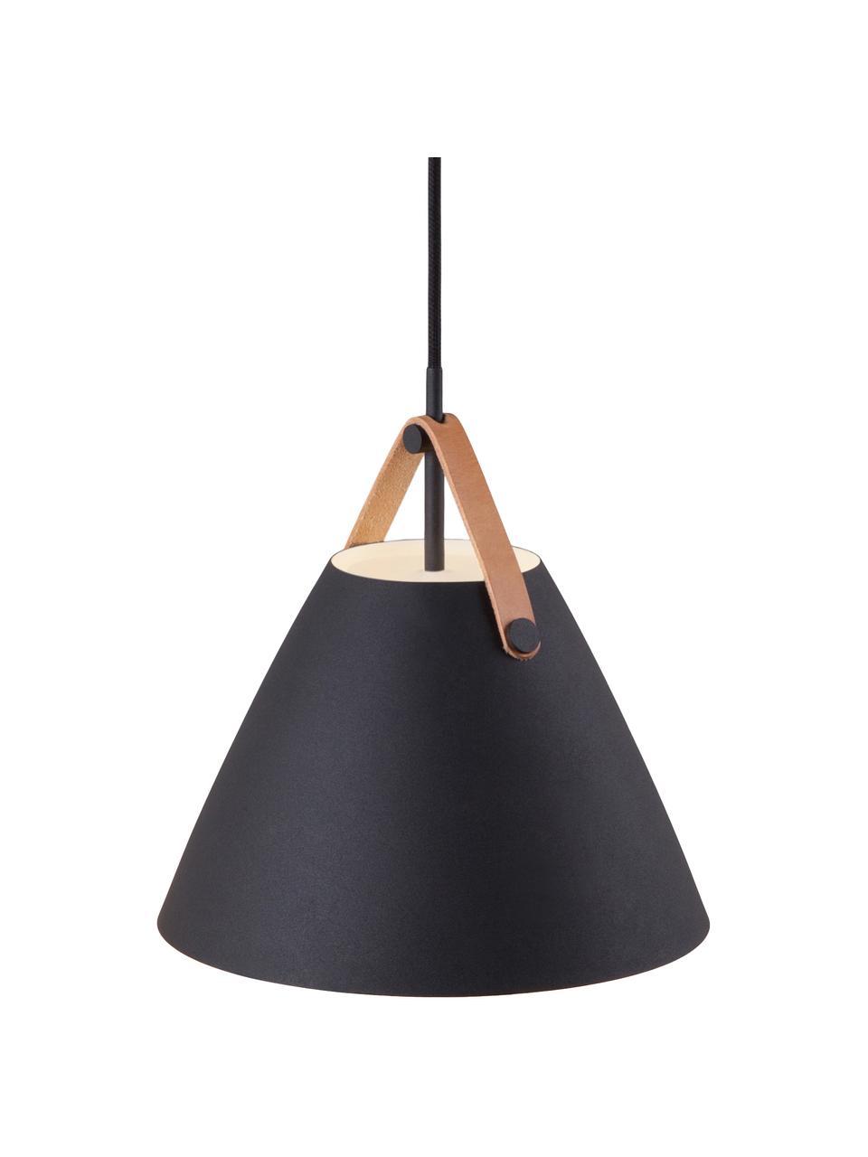 Lampa wisząca ze skórzanym paskiem Strap, Czarny, Ø 36 x W 35 cm