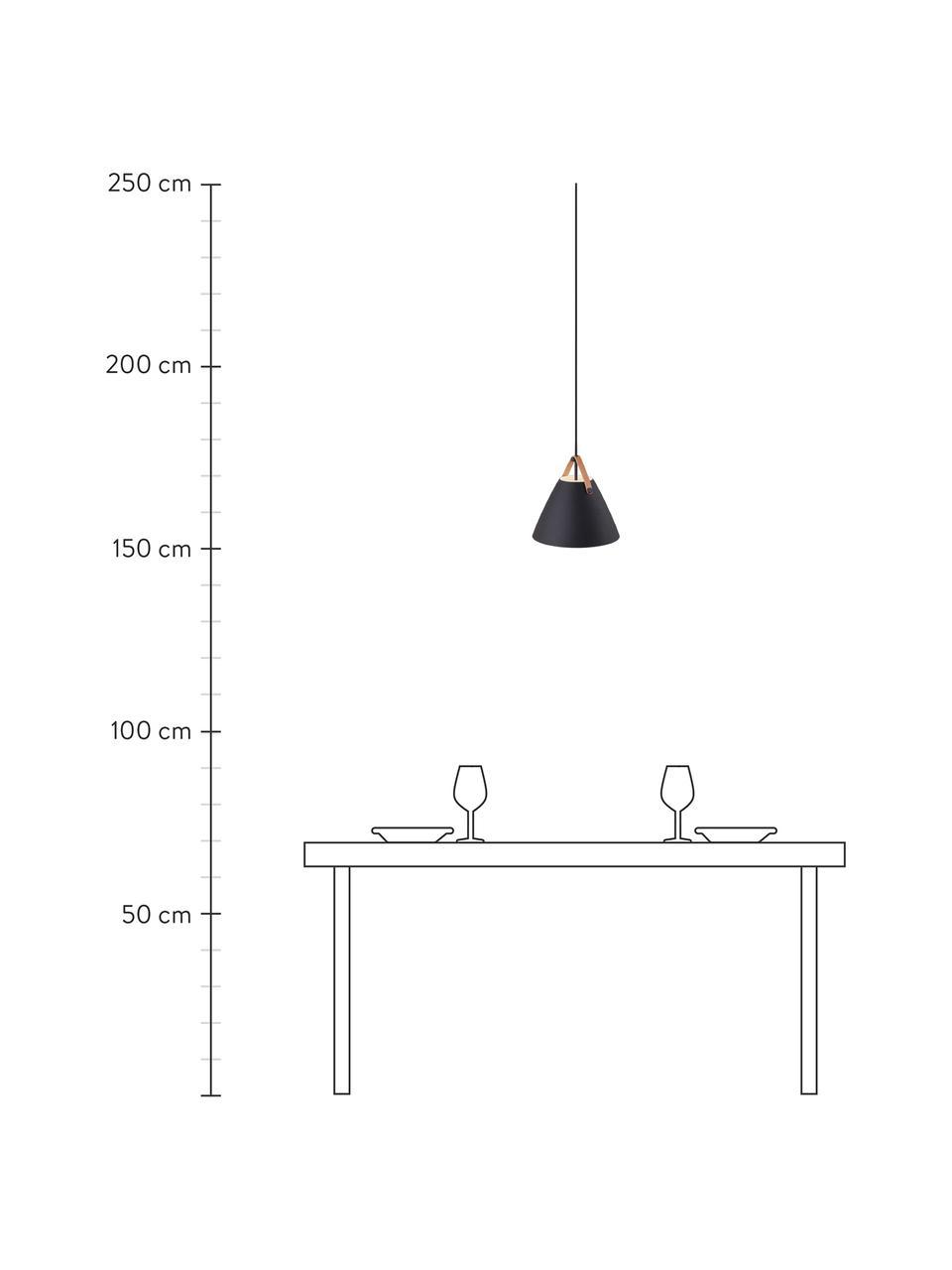 Pendelleuchte Strap mit austauschbarem Lederband, Lampenschirm: Metall, pulverbeschichtet, Baldachin: Kunststoff, Schwarz, Ø 36 x H 35 cm