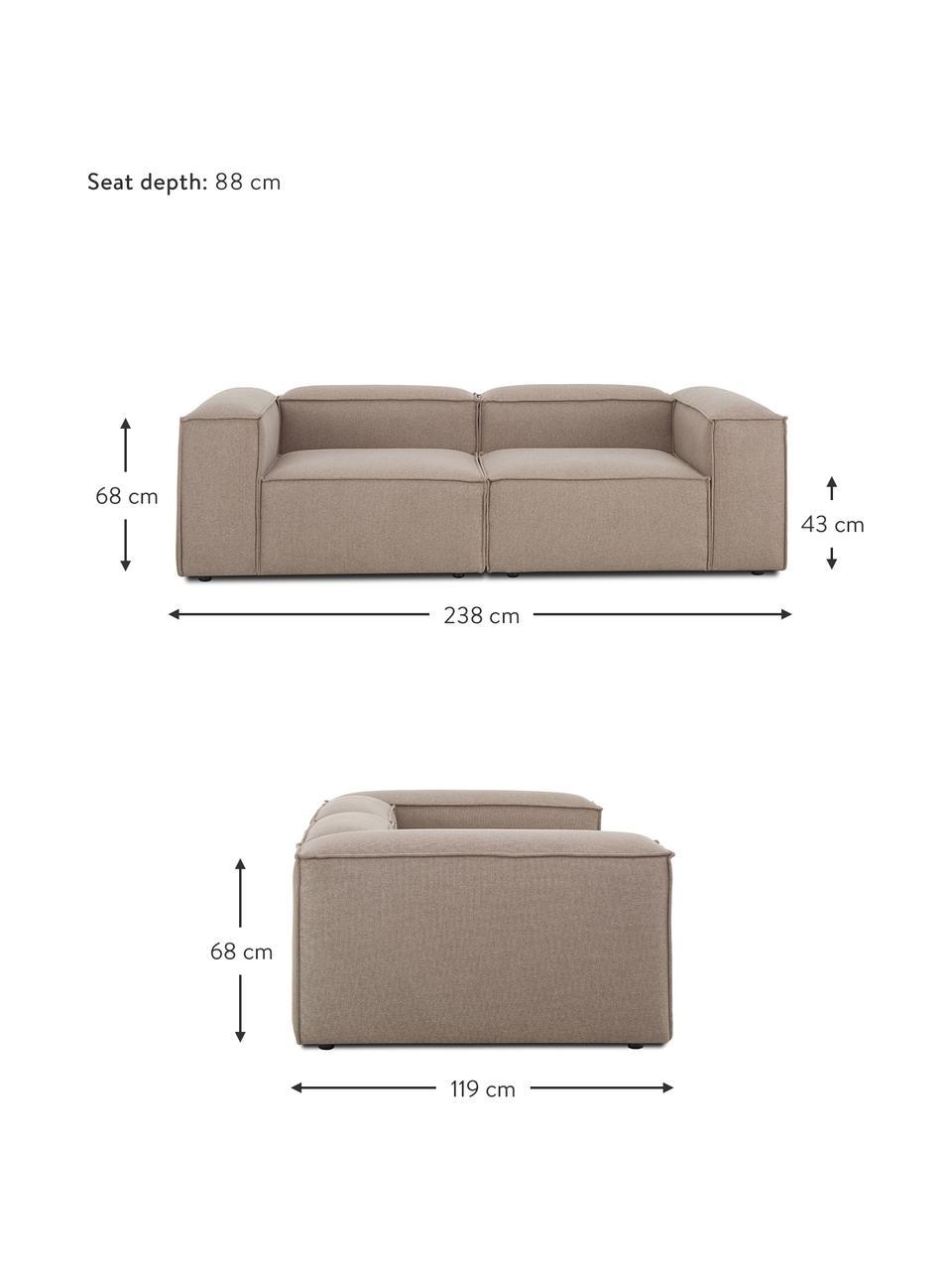 Modulares Sofa Lennon (3-Sitzer) in Braun, Bezug: 100% Polyester Der strapa, Gestell: Massives Kiefernholz, Spe, Füße: Kunststoff Die Füße befin, Webstoff Braun, B 238 x T 119 cm