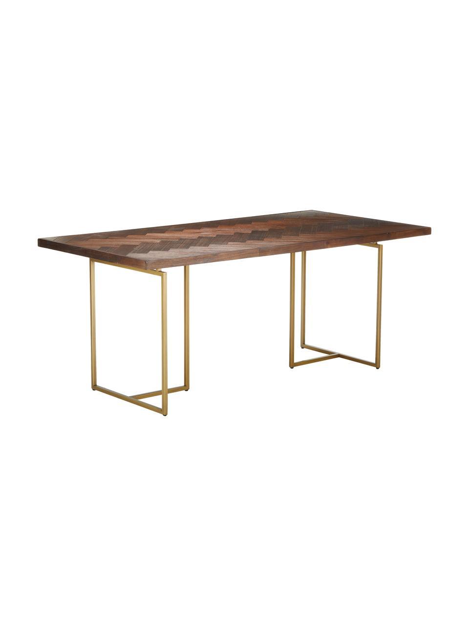 Table art déco acacia Class, Bois d'acacia, couleur laitonnée