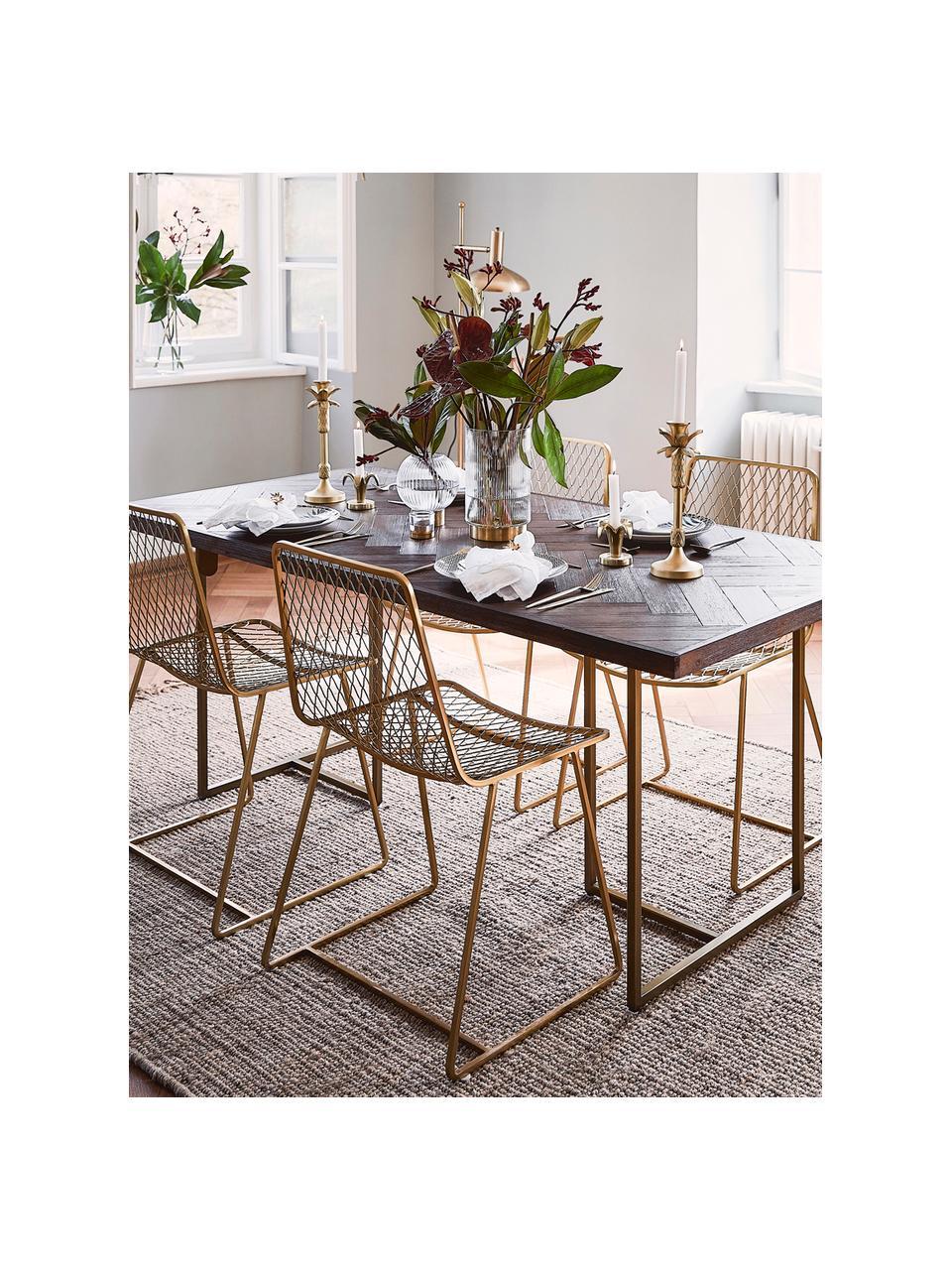 Massivholz Esstisch Class mit Fischgrätmuster, Tischplatte: Mitteldichte Holzfaserpla, Akazienholz, Messingfarben, B 220 x T 90 cm