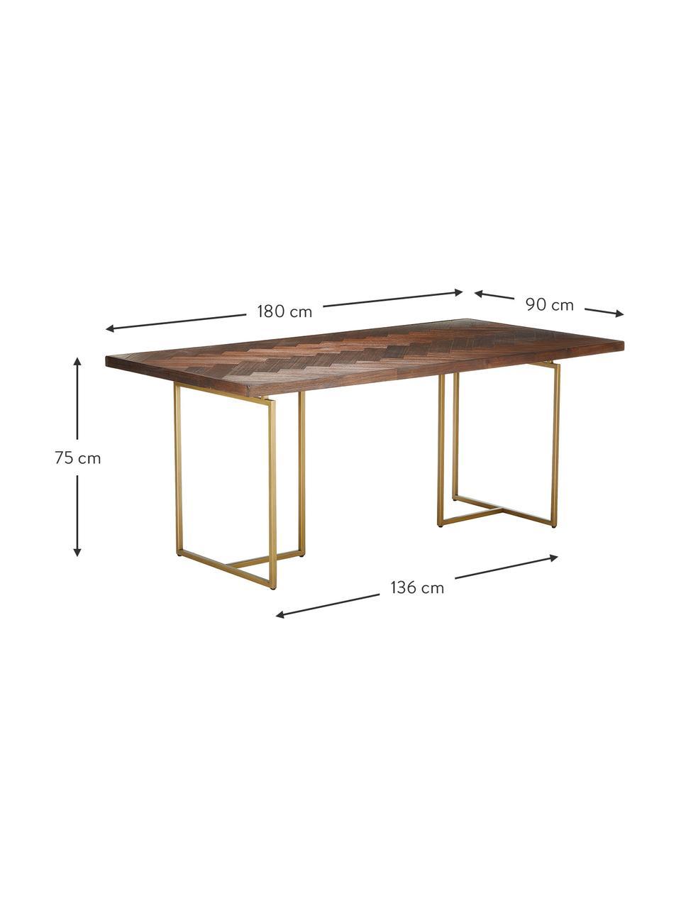 Stół do jadalni w jodełkę z litego drewna Class, Blat: płyta pilśniowa o średnie, Nogi: metal malowany proszkowo, Drewno akacjowe, odcienie mosiądzu, S 220 x G 90 cm