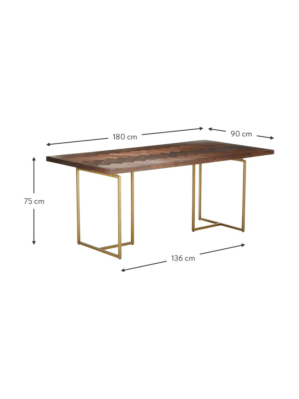 Tavolo con finitura in acacia Class, Piano d'appoggio: pannelli di fibra a media, Gambe: metallo, verniciato a pol, Rosso, Larg. 220 x Prof. 90 cm