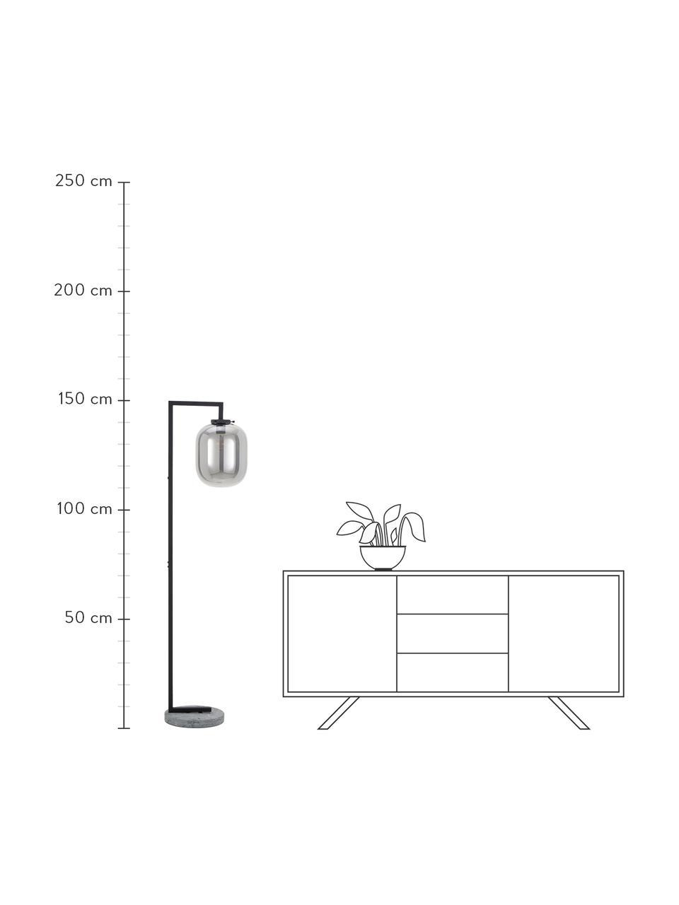 Lampa podłogowa z marmurową podstawą i szklanym kloszem Leola, Stelaż: metal lakierowany, Odcienie chromu, czarny, S 38 x W 150 cm