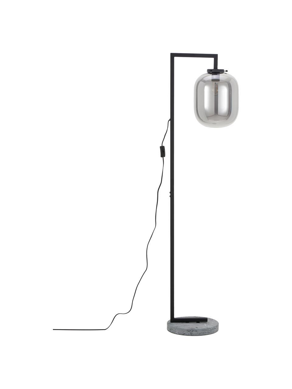 Vloerlamp Leola van marmer en spiegelglas, Lampenkap: verspiegeld glas, Frame: gelakt metaal, Lampvoet: marmer, Chroomkleurig, zwart, 38 x 150 cm