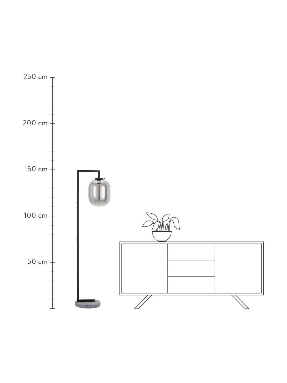 Stehlampe Leola aus Marmor und Spiegelglas, Lampenschirm: Glas, verspiegelt, Gestell: Metall, lackiert, Lampenfuß: Marmor, Chromfarben, Schwarz, 38 x 150 cm