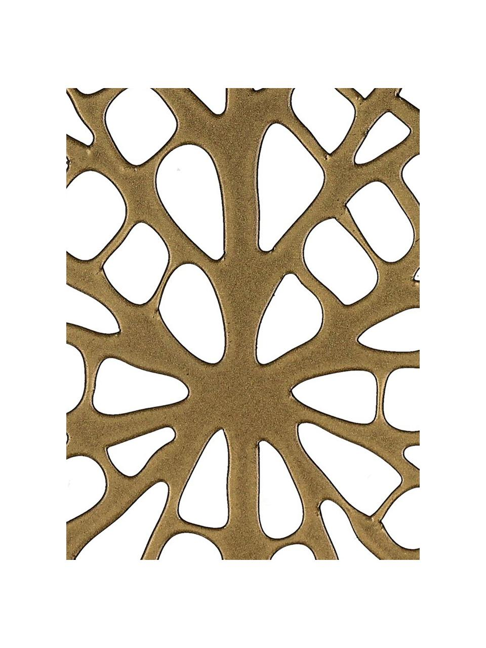 Messingfarbene Untersetzer Orient in Blattform, 6 Stück, Metall, beschichtet, Messingfarben, B 12 x T 11 cm
