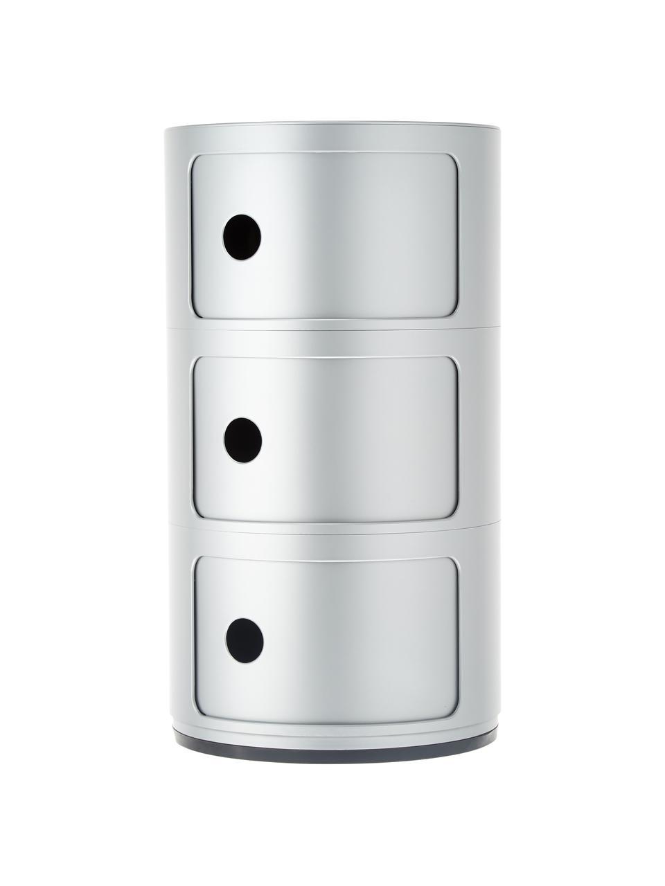 Comodino contenitore di design con 3 cassetti Componibili, Materiale sintetico (ABS), verniciato, Argentato, Ø 32 x Alt. 59 cm