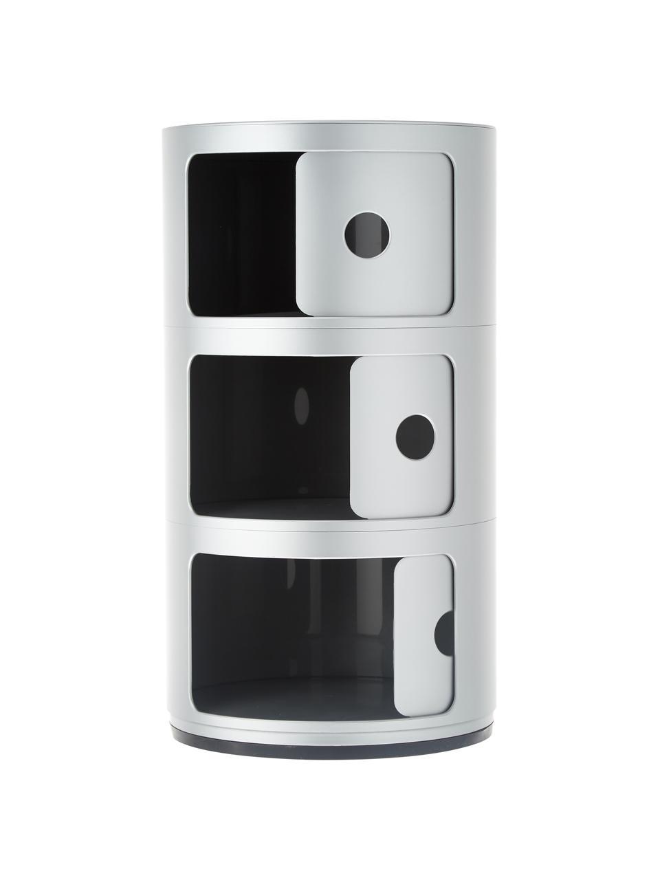 Comodino di design con cassetti Componibile, Materiale sintetico, Argentato, Ø 32 x Alt. 59 cm