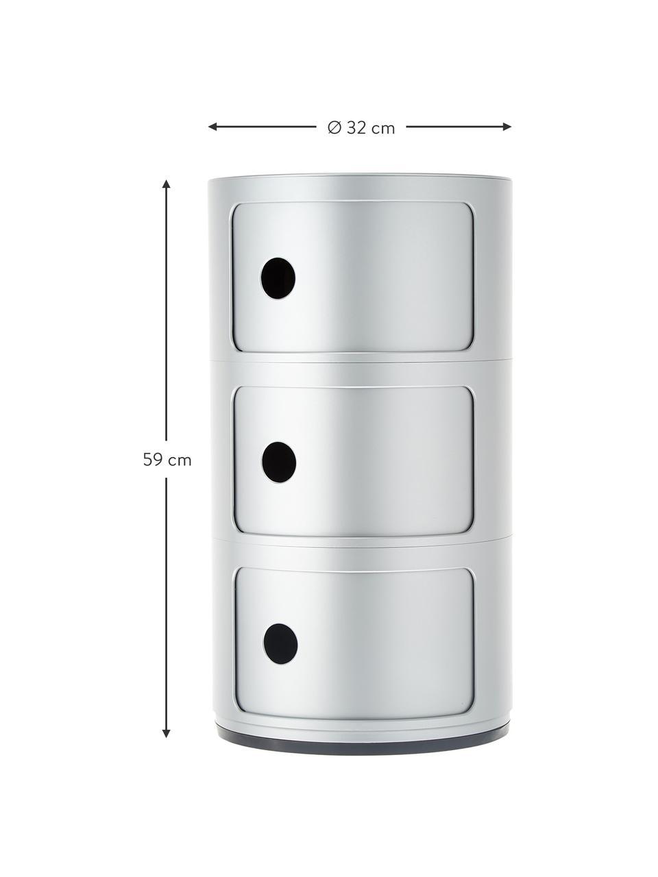 Design Container Componibili 3 Modules, Kunststoff (ABS), lackiert, Silberfarben, Ø 32 x H 59 cm