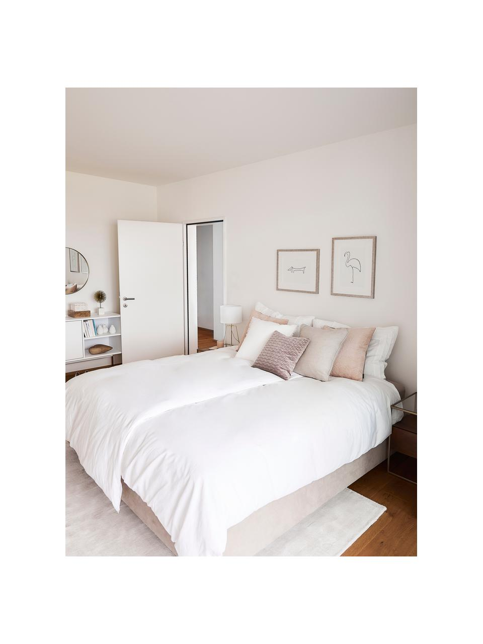 Lit à sommier tapissier beige sans tête de lit Enya, Tissu beige