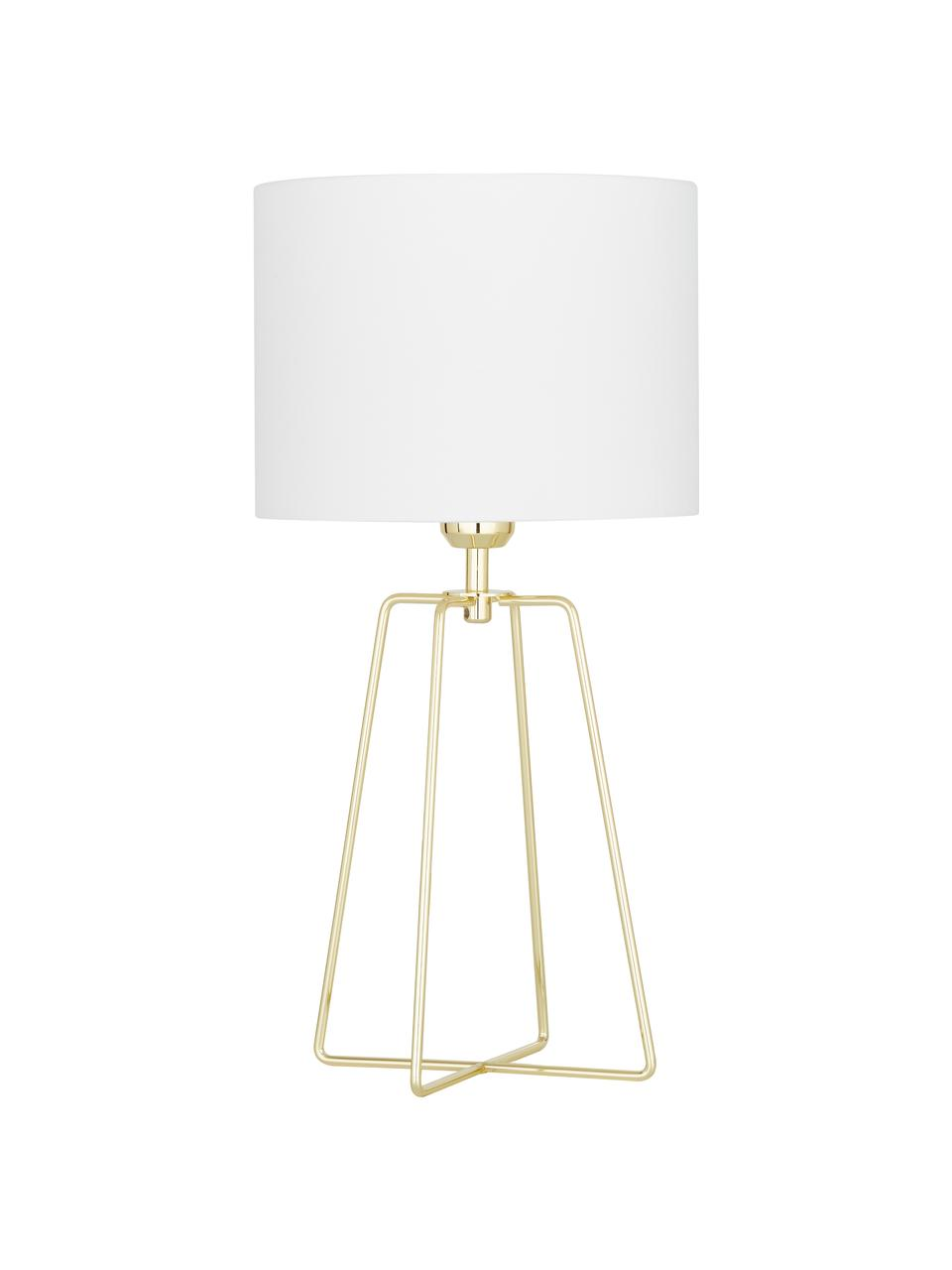 Lampe à poser blanc or Karolina, Abat-jour: blanc Pied de lampe: laiton, brillantCâble: transparent