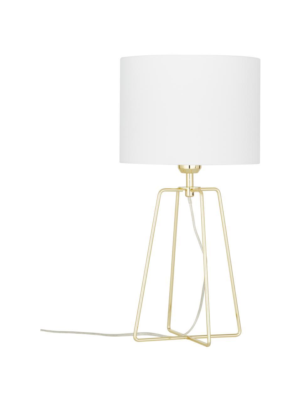 Tafellamp Karolina in wit-goudkleur, Lampenkap: katoen, Lampvoet: vermessingd metaal, Wit, goudkleurig, Ø 25 x H 49 cm