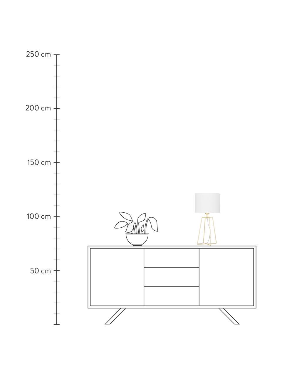 Tischlampe Karolina in Weiß-Gold, Lampenschirm: Baumwolle, Lampenfuß: Metall, vermessingt, Weiß, Gold, Ø 25 x H 49 cm
