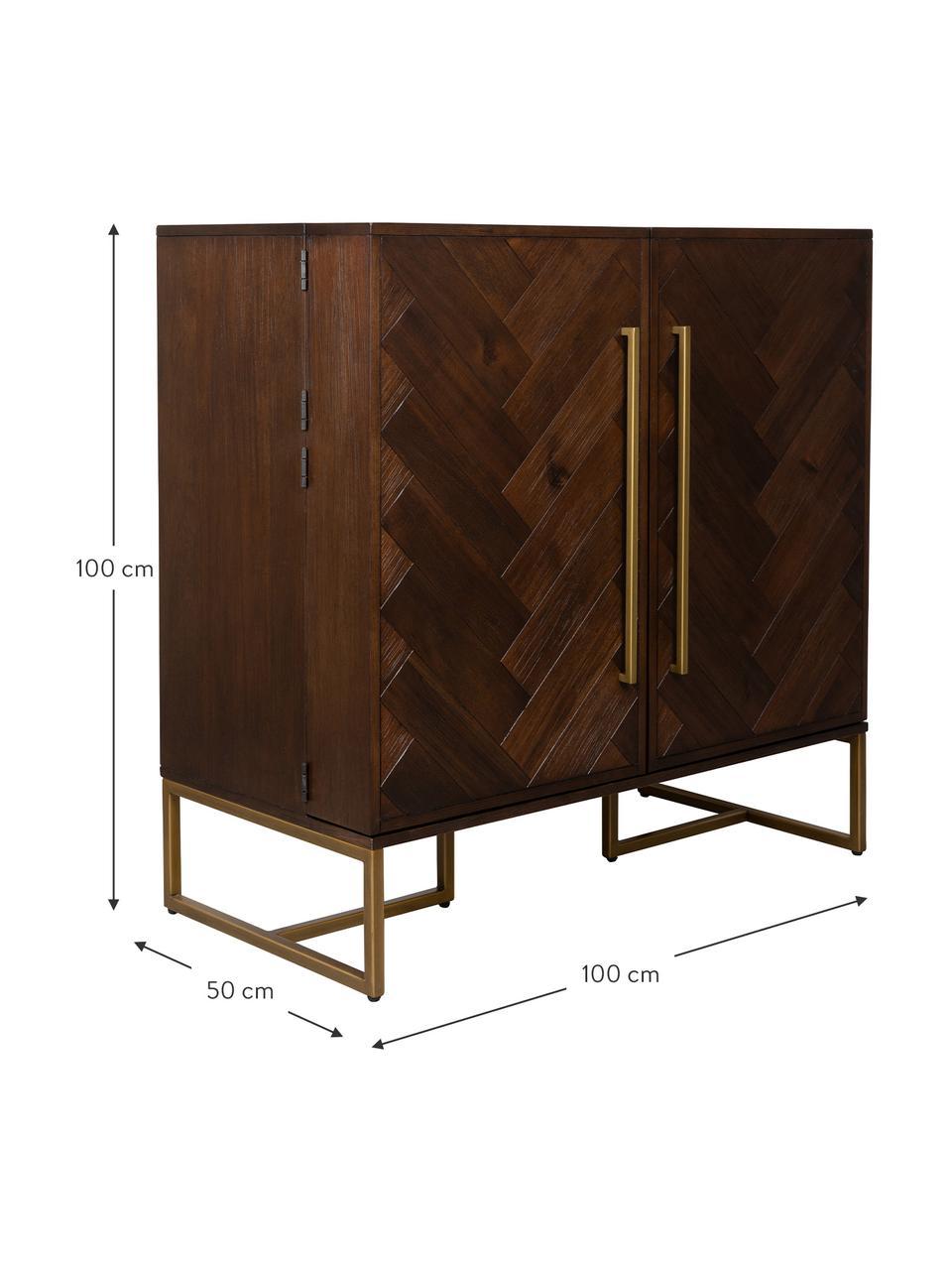 Credenza alta con finitura in acacia Class, Legno di acacia, ottonato, Larg. 100 x Alt. 100 cm