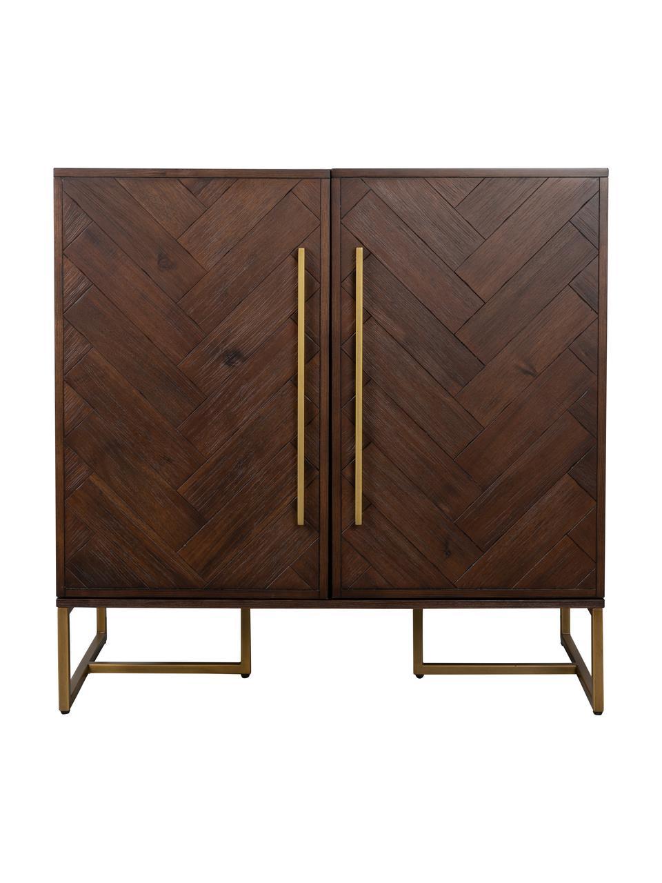 Szafka barowa z drewna akacjowego Class, Korpus: płyta pilśniowa średniej , Drewno akacjowe, odcienie mosiądzu, S 100 x W 100 cm