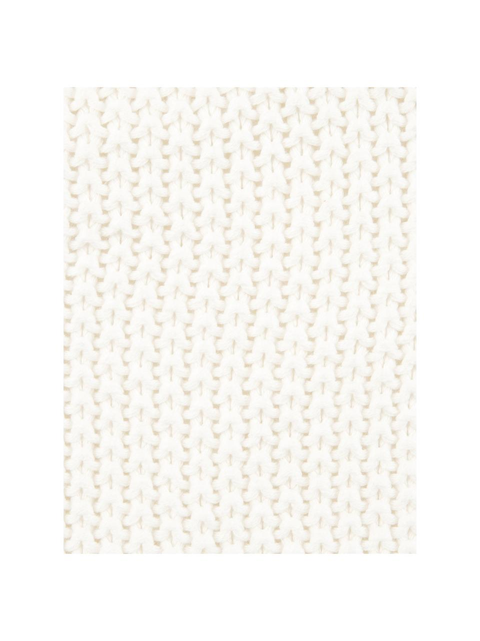 Federa arredo fatta a maglia con pompon Molly, 100% cotone, Bianco crema, Larg. 40 x Lung. 40 cm