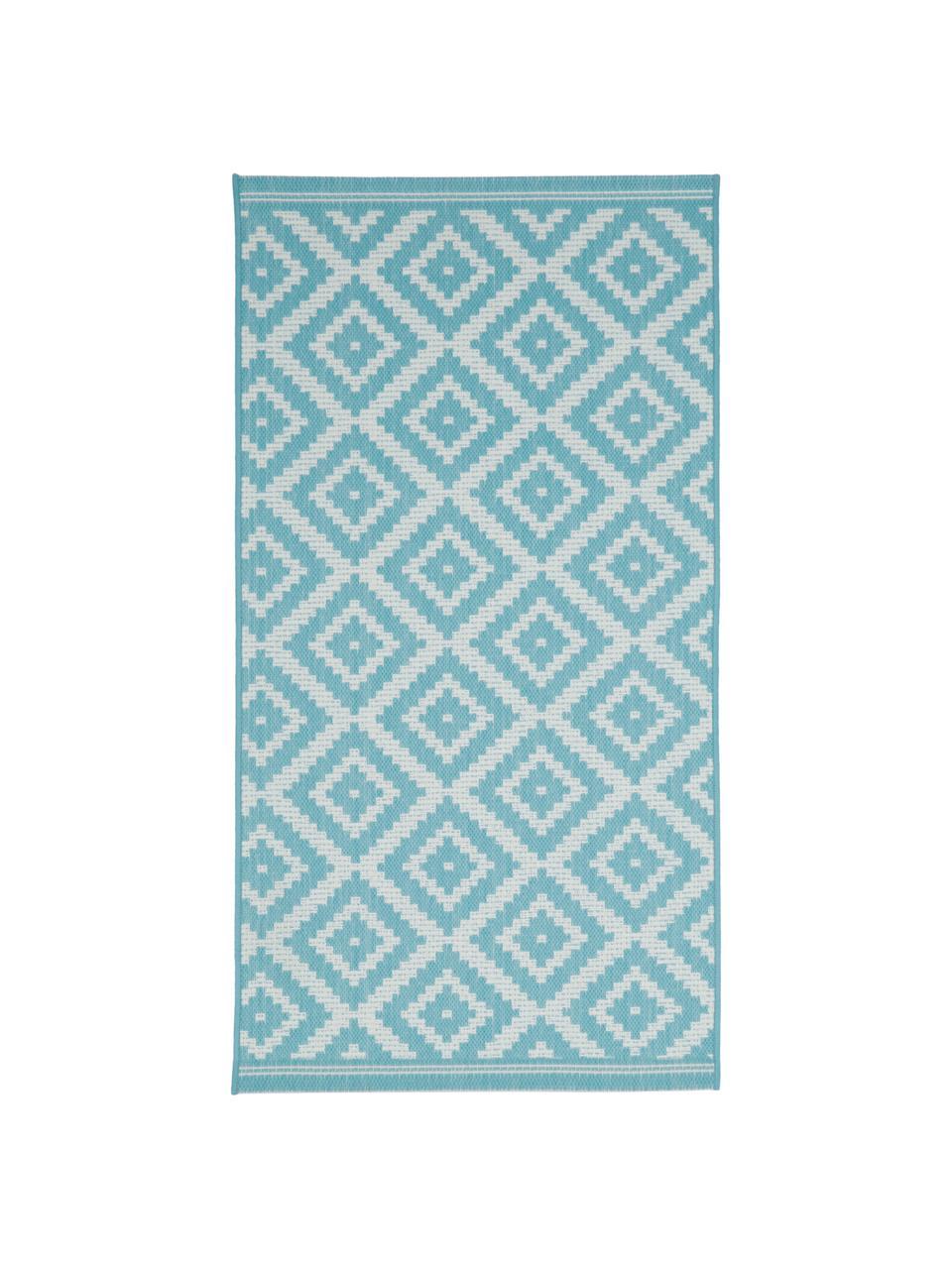 Tappeto fantasia color turchese/bianco da interno-esterno Miami, 86% polipropilene, 14% poliestere, Bianco, turchese, Larg. 200 x Lung. 290 cm (taglia L)