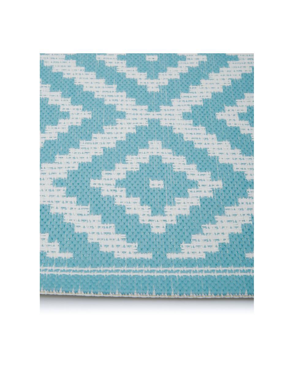In- & outdoor vloerkleed met patroon Miami in turquoise/wit, 86% polypropyleen, 14% polyester, Wit, turquoise, B 200 x L 290 cm (maat L)