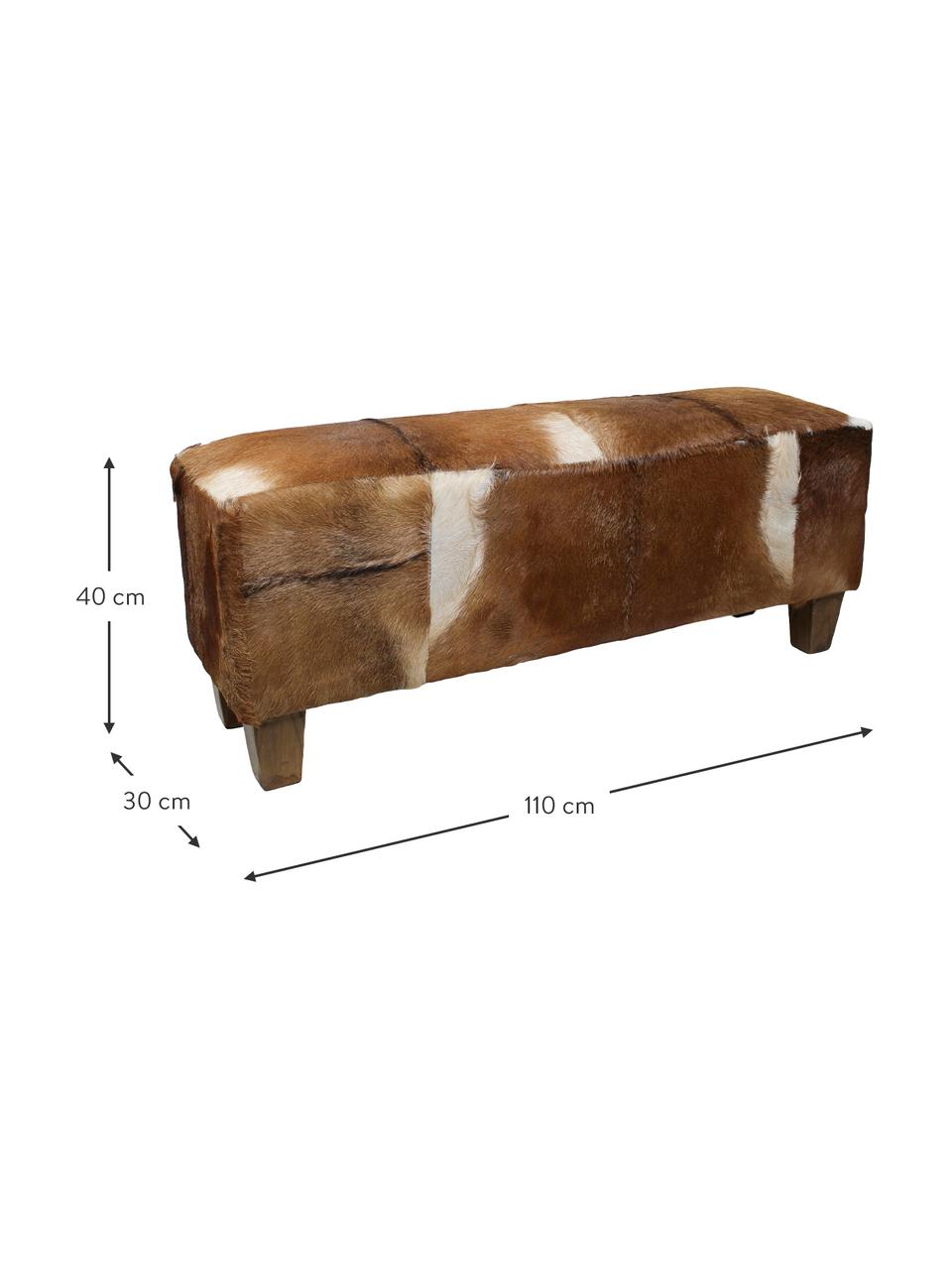 Sitzbank Bangku mit Ziegenfell, Bezug: Ziegenfell, Füße: Teakholz, Bezug: Ziegenfell, Braun und Weiß Füße: Teakholz, 110 x 40 cm