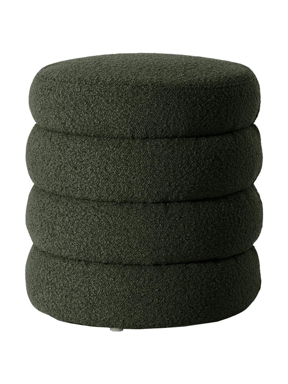 Sgabello in tessuto bouclé verde Alto, Rivestimento: 100% poliestere (pellicci, Struttura: legno di pino massiccio, , Bouclé verde, Ø 42 x Alt. 47 cm