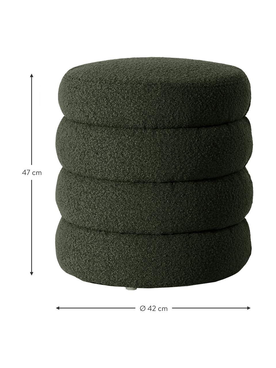 Bouclé-Hocker Alto in Grün, Bezug: Bouclé (100% Polyester) D, Gestell: Massives Kiefernholz, Spe, Bouclé Grün, Ø 42 x H 47 cm